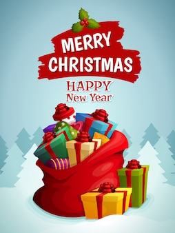 Vrolijke kerstmis en gelukkig nieuwjaar wenskaart met zak vol geschenken illustratie