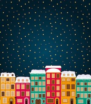 Vrolijke kerstmis en gelukkig nieuwjaarskaart met kleine stad in retro stijl.