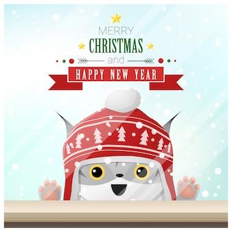 Vrolijke kerstmis en gelukkige nieuwjaarachtergrond met kat