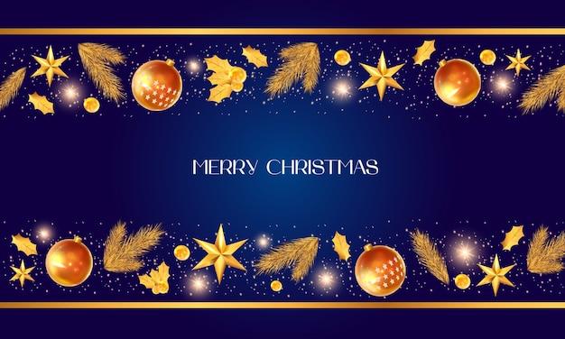 Vrolijke kerstmis en gouden decoratie
