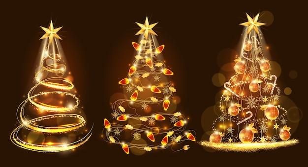 Vrolijke kerstmis en gouden kerstboom gemaakt met decoratie