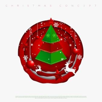 Vrolijke kerstmis en nieuwjaar cirkels achtergrond met sneeuwvlokken, sterren, herten en kerstboom gemaakt van uitgesneden papier lagen. .