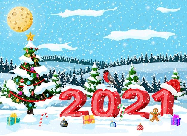 Vrolijke kerstmis en nieuwjaar kerst wenskaart met 2021 vetgedrukte letters