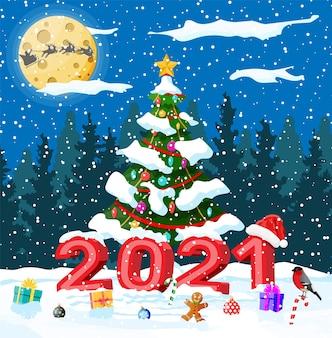 Vrolijke kerstmis en nieuwjaar kerst wenskaart met 2021 vetgedrukte letters.