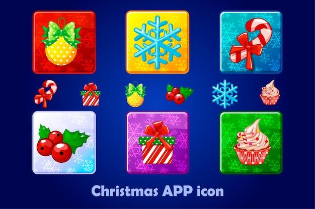 Vrolijke kerstmis en nieuwjaar vierkante app pictogrammen instellen. winter kleurrijke objecten.