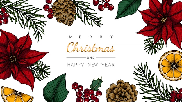 Vrolijke kerstmis en nieuwjaarachtergronden en groetkaart met bloem en bladtekeningsillustratie.