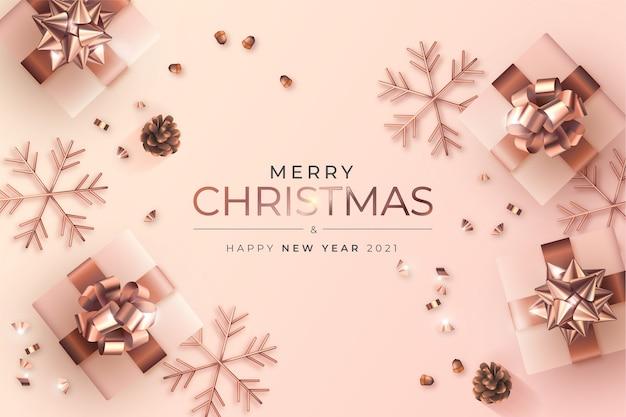 Vrolijke kerstmis en nieuwjaarskaart met elegante decoratie