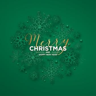 Vrolijke kerstmis en nieuwjaarskaart met realistische kerstmissneeuwvlokken
