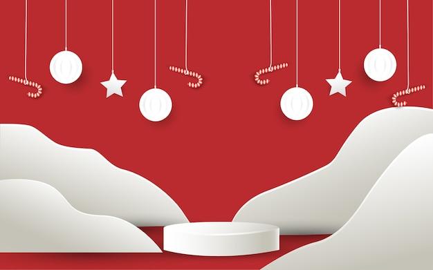 Vrolijke kerstmis en papierstijl product podium achtergrond