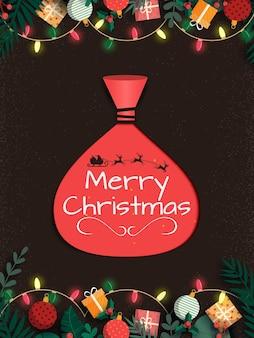 Vrolijke kerstmis en rode kerstman zak achtergrond.