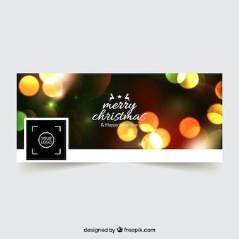 Vrolijke kerstmis facebook cover met een bokeh effect