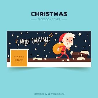 Vrolijke kerstmis facebook cover met een kerstman