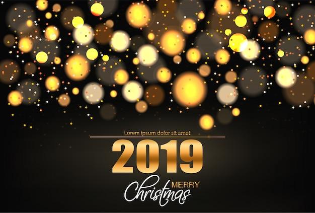Vrolijke kerstmis glanzende gouden lichten