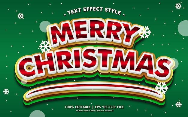 Vrolijke kerstmis gouden groene tekst effecten stijl