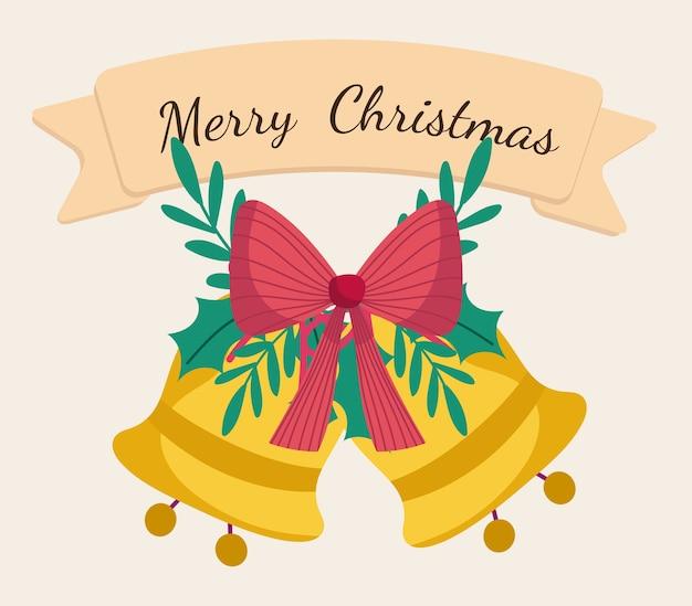 Vrolijke kerstmis gouden klokken met boog en lintillustratie