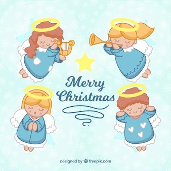 Vrolijke kerstmis hand getrokken achtergrond met vier engelen die muziek spelen