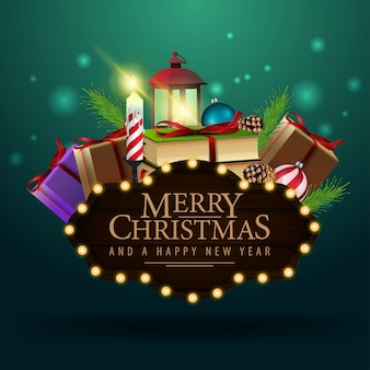 Vrolijke kerstmis houten plaat met kerstmisgiften
