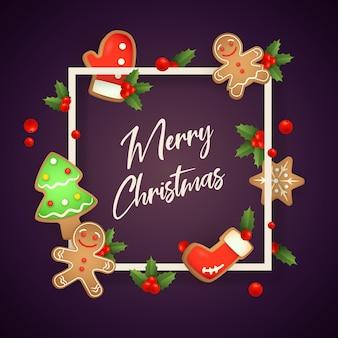 Vrolijke kerstmis in kader met gemberbrood op violette grond