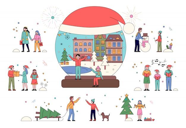Vrolijke kerstmis, kid speelt met sneeuw, xmas vector
