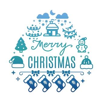 Vrolijke kerstmis kleurrijke achtergrond met feestelijk pictogrammensilhouet dat op wit wordt geïsoleerd
