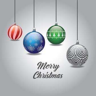 Vrolijke kerstmis kleurrijke kerstmissnuisterijen