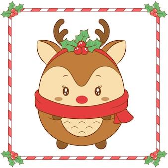 Vrolijke kerstmis leuke rendiertekening met kerstmisbes en rode sjaal voor winterseizoen
