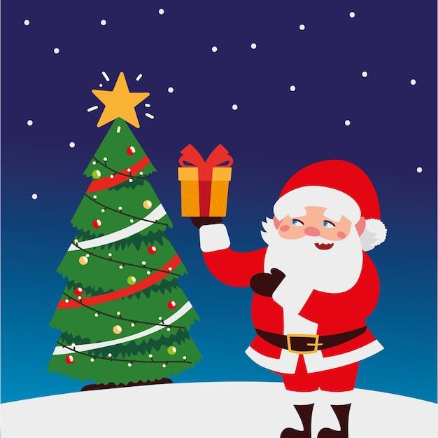 Vrolijke kerstmis leuke santa met giftdoos en boom in de illustratie van de sneeuwdecoratie
