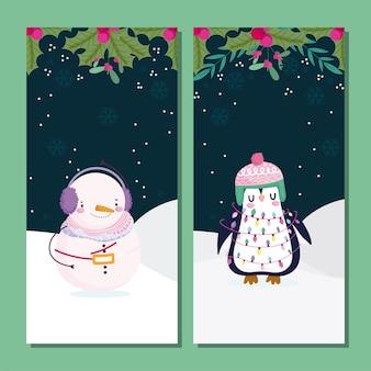 Vrolijke kerstmis, leuke sneeuwman en pinguïn in de de bannersillustratie van het sneeuwgebladerte