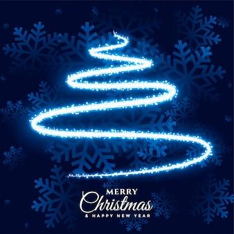 Vrolijke kerstmis lichte sneeuwvlok en boom