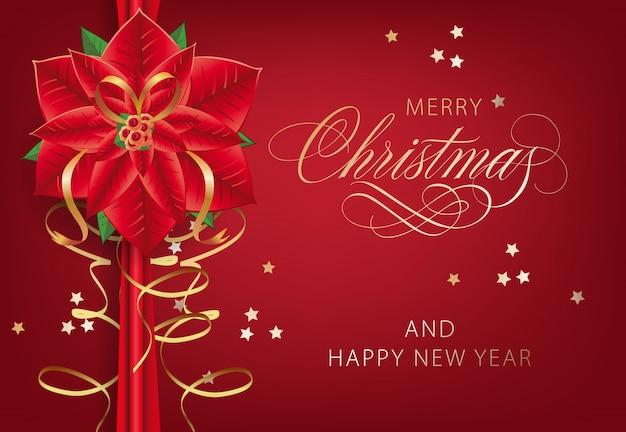 Vrolijke kerstmis met de prentbriefkaarontwerp van de poinsettiabloem