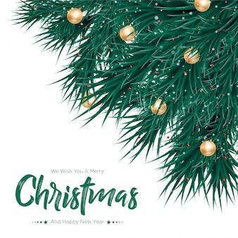 Vrolijke kerstmis met gouden ballenachtergrond