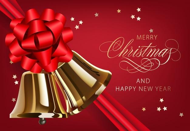 Vrolijke kerstmis met gouden klokken en lintprentbriefkaarontwerp