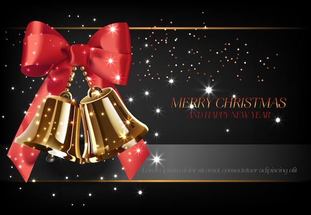 Vrolijke kerstmis met gouden klokken posterontwerp