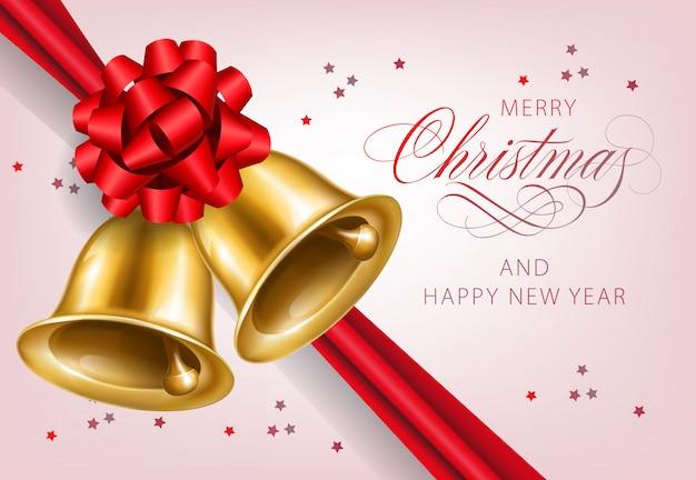 Vrolijke kerstmis met het gouden ontwerp van de klokkenprentbriefkaar