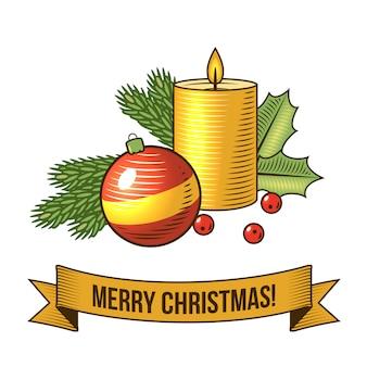 Vrolijke kerstmis met kaars retro illustratie
