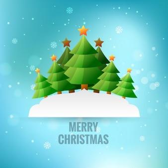 Vrolijke kerstmis met kerstbomen