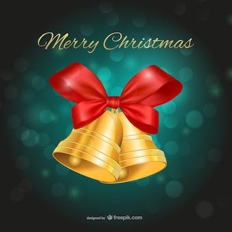 Vrolijke kerstmis met klokken en groene achtergrond