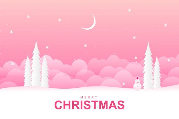 Vrolijke kerstmis met met roze wintertijdachtergrond