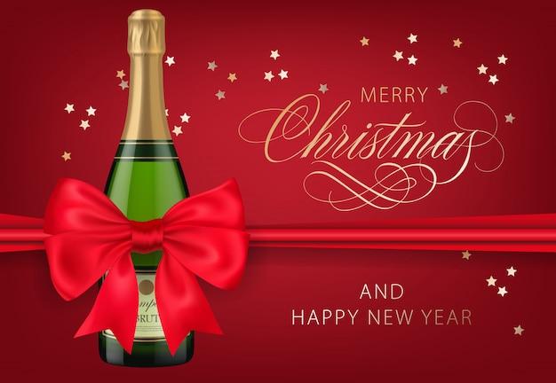 Vrolijke kerstmis met ontwerp van de champagnefles het rode prentbriefkaar