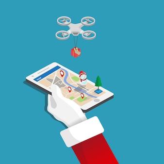 Vrolijke kerstmis, mobiele in de hand santa claus, gift levering door drone plat isometrische illustratie.