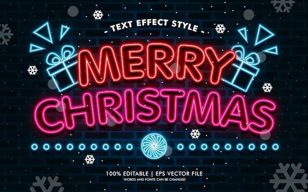 Vrolijke kerstmis neon tekst effecten stijl