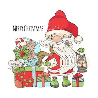 Vrolijke kerstmis nieuwjaar cartoon