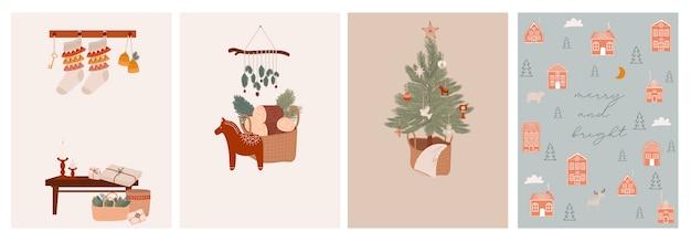 Vrolijke kerstmis of gelukkig nieuwjaar leuke wenskaarten met vakantie boho elementen in scandinavische stijl leuke hygge elementen