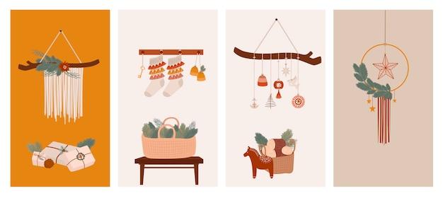 Vrolijke kerstmis of gelukkig nieuwjaar verticale achtergrond voor sociale media of mobiele app-sjabloon vakantie boho-elementen in scandinavische stijl