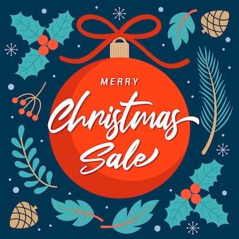 Vrolijke kerstmis op de rode illustratie van balornamenten