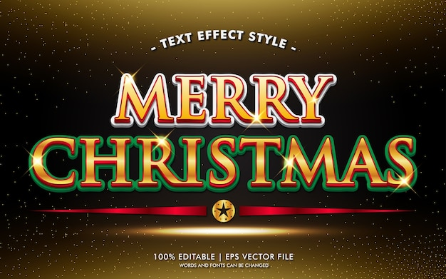 Vrolijke kerstmis rode gouden tekst effecten stijl