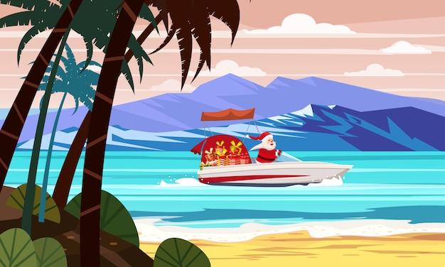 Vrolijke kerstmis santa claus op speedboot op oceaan zee tropisch eiland palmen bergen kust