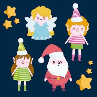 Vrolijke kerstmis, santa engel vrouwelijke en mannelijke helper karakters illustratie