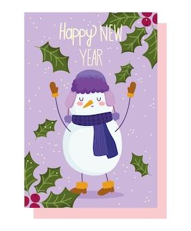 Vrolijke kerstmis, sneeuwman met hoed, sjaal en laarzen decoratie kaart vectorillustratie
