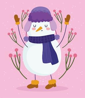 Vrolijke kerstmis, sneeuwman met hoedensjaal en laarzen, bloemendecoratie vectorillustratie
